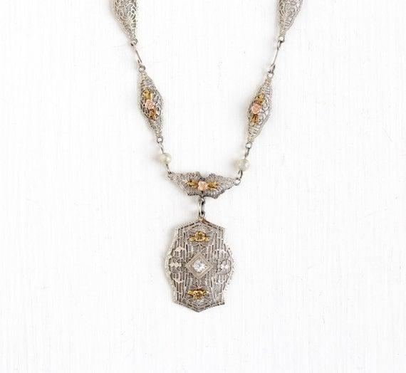 Sale Antique Art Deco 10k White Gold Diamond Pearl Filigree