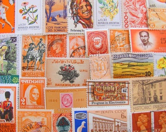 Shades of Orange 100 Vintage Orange Postage Stamps Citrus Tangerine Copper Peach Scrapbooking Wedding Decorations US Worldwide Philately