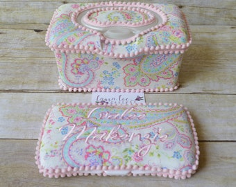 Set of 2, Large Nursery Wipe Case and Travel Baby Wipe Case, Floral Pastel Pasiley, Large Case and Travel Diaper Wipe Case, Wipe Holder