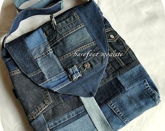 One of a Kind Bohemian Messenger Shoulder bag, Large Patchwork Denim Bag,  Recycled Eco Chic, Reclaimed Denim, Large size