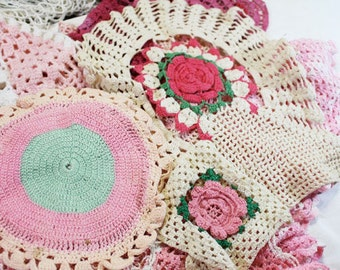 Pink Doilies, Assorted Sizes, 28 total, Vintage Doily