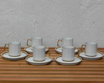 White & Gold Espresso Cups, Japanese, Set of 6