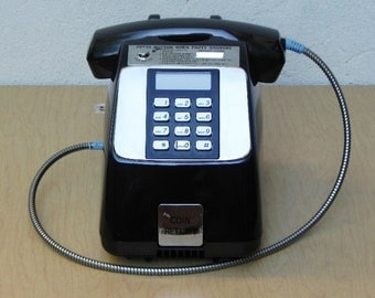 Black Desk Pay Phone, Unused, Coin Operated (Optional)