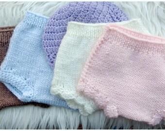 Baby Knit Diaper Cover (WHITE NEWBORN - RTS)