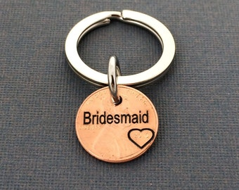 Bridesmaid Keychain -  Wedding Gift - Personalized Keychain  - Hand Stamped -  Keychain - Wedding - Friend - Bridesmaid - Maid of Honor