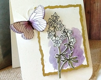 Elegant Lavender Larkspurs - Thank You Card - ART CARD - Classy Lavender and Gold