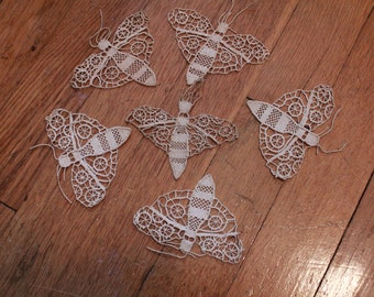 Hand Made Antique Ecru Lace Needle Butterfly Applique