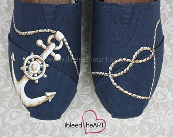 Navy Anchor and Rope Heart Custom Painted TOMS Shoes - Wedding Shoes - Anchor TOMS - Nautical Clothing - Navy Shoes - Boating - Seafaring