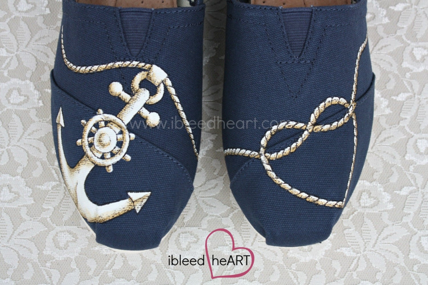 wedding toms toms wedding shoes Navy Anchor and Rope Heart Custom Painted TOMS Shoes Wedding Shoes Anchor TOMS Nautical Clothing Navy Shoes Boating Seafaring