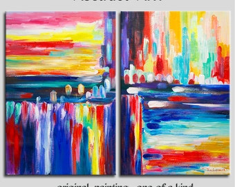 "Huge original modern art Oil painting Abstract Painting Modern Impasto Texture canvas by Tim Lam 48"" x 36"""
