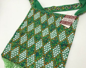 Vintage 1970s Green Beaded Purse Hobo Shoulder Bag NOS Hong Kong Fringe