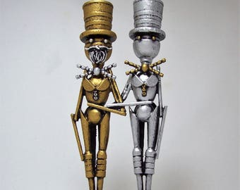 RESV for Devyn Gay Wedding Topper Same Sex Wedding Cake Topper Silver and Gold Wood Civil Union Keepsake Grooms in Tuxedo Tails Top Hats