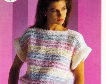 Ladies Summer Top - Summer Sweater Sirdar Sombrero / Terry Look Knitting Pattern -  Sirdar Knitting Pattern ORIGINAL