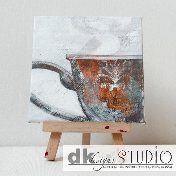 """SALE! Teacup #1 - original 4"""" canvas panel"""