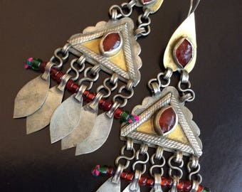 Vintage turkoman turkmen earrings silver dangle gold asian kuchi nomad pashtun glass red
