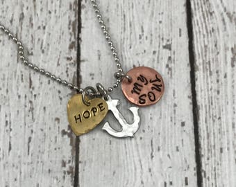 Hope Anchors my Soul Small  Hand stamped Charm Necklace, Spiritual, Christian, Confirmation, Religious, Heart