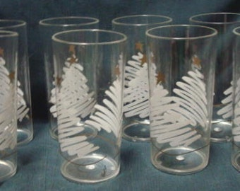 Retro Christmas Glasses Christmas Tree Acrylic Glasses Cocktail Party Christmas Table Christmas Party Christmas Dinner Set of 8 Glasses