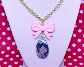 Comic Book Single Tear Drop Necklace with Pink Bow