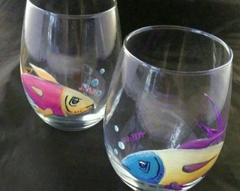 Stemless Fish Wine Glasses