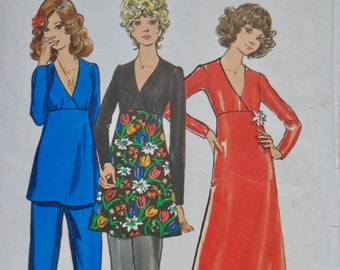 70s Maxi Dress Pattern Butterick 6515 High Waist Dress Size 12 Bust 34