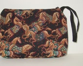 Horse with Blanket Tapestry Large Cosmetic  Clutch