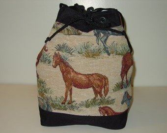 Western Horse Tapestry Cinch Purse,Drawstring Purse,Equestrian Handbags,Horse Purse