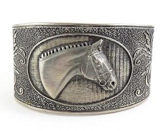 Vintage Fancy Horse Head Cuff Bracelet with Scrolls