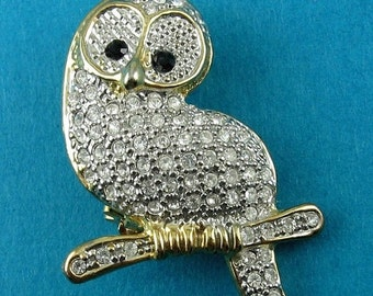 Cute Owl on a Branch Pin with Rhinestone Pave' - Two-Tone, Silver & Gold