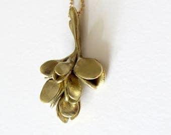Flower branch pendant, dainty botanical artichoke style