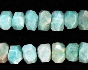 Large Amazonite Faceted Freeform Nugget Beads 18x12mm - 16 Inch Strand