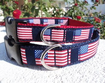 """Dog Collar, 3/4"""" or 1"""" Quick Release buckle American Flag - Include dogs neck measurement - No martingale - sizes S to L+"""