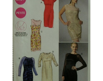 Fitted Dress Pattern, Sleeveless/Sheer Sleeves, Scoop Neck, Heart Shaped Bodice, Sheer Top, McCalls No. 6460 UNCUT Size 6 8 10 12 14
