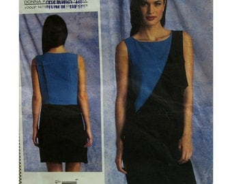 Donna Karan Dress Pattern, Pullover, Dropped Waist, Sleeveless, Front Drape, DKNY Vogue American Design No. 1396 UNCUT Size 16 18 20 22 24