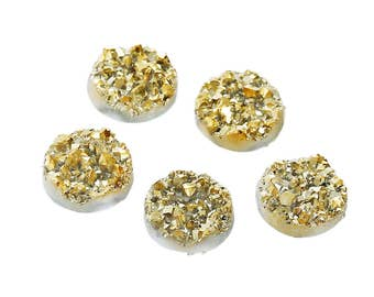 6 Druzy Quartz Gold On White Cabochon 12mm