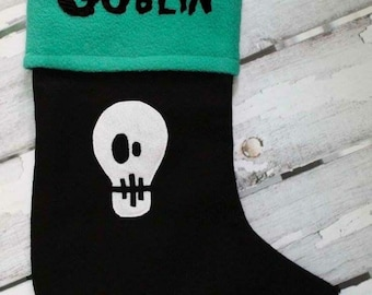 Punk Rock Black Christmas Stocking Skull Custom Personalized Name. Skeleton Tattoo Anarchy Heavy Metal Alternative Baby Child Kid Teen Adult