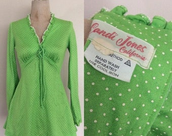 20% OFF 1970's Lime Green Polka Dot Micro Mini Dress Vintage Mod Dres Size XS Small Petite by Maeberry Vintage