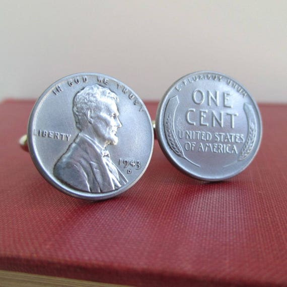 1943 Steel Penny Cuff Links Lincoln Front & Back Wheat
