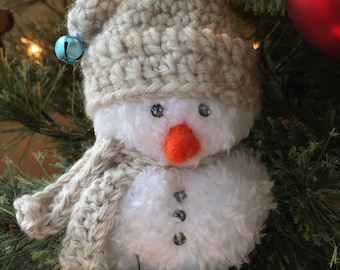 Snowman, Ornament, Christmas, Tree, Decoration, Handcrafted, Crochet, Fleece, Jingle Bells, Gift, Stocking Stuffer