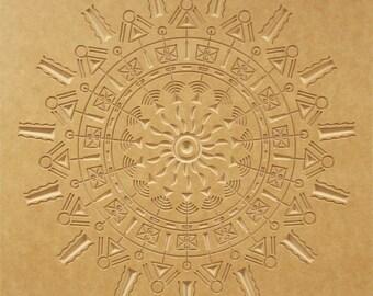 Mid Century Design - Crop Circle Wood Relief - 24x24 - Solar