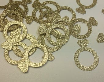 Gold Glitter Engagement Ring Confetti, Engagement Party Decor, Bachelorette Party Decor, Bachelorette Decorations, Bridal Shower Decor