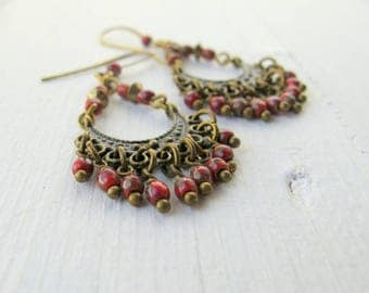Red Bohemian Chandelier Earrings, Long Red Dangle Earrings, Czech Picasso Glass Jewellery,  Red Dangly Hippie Earrings