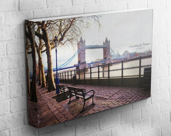London Canvas Wrap, Gallery Wrap Photo, London Photography, Tower Bridge Photo, Thames River Print, London Bridge, London England