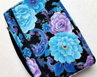 Bible Cover Blue and Purple Flowers on Black