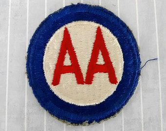 """Vintage US Army Anti Aircraft Command Patch 2.5"""", Cut Edge, SSI Shoulder Sleeve Insignia, Militaria Collectible, Red White Blue Applique"""