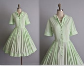 50's Shirtwaist Dress // Vintage 1950's Pale Green Cotton Garden Party Shirtwaist Dress L