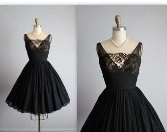 STOREWIDE SALE 50's Chiffon Dress // Vintage 1950's Black Lace Illusion Chiffon Full Cocktail Party Dress XS