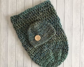 Crochet green cocoon, crochet cocoon, teal cocoon, newborn photo prop, crochet newborn sack, baby pea pod, cocoon and hat set, chunky hat