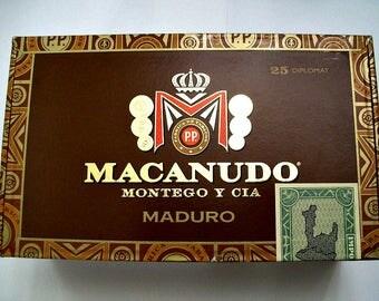 Cigar Box - empty box for crafting - MACANUDO Maduro - Small Brown Box