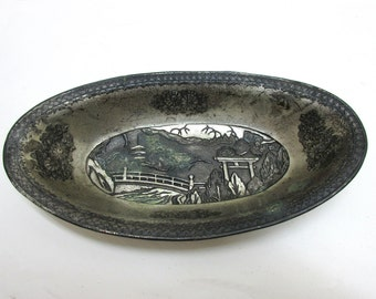 Vintage Relish Dish Silverplate Oval Ornate Asian Art Nouveau