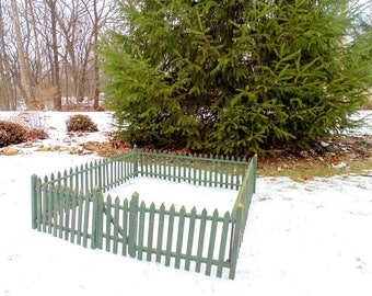 Christmas Tree Fence. Feather Tree Fence. Rustic Fence. Christmas Fence. Gated Fence. Wooden Fence. Green Wood Fence. 160 inches x 11 inch.